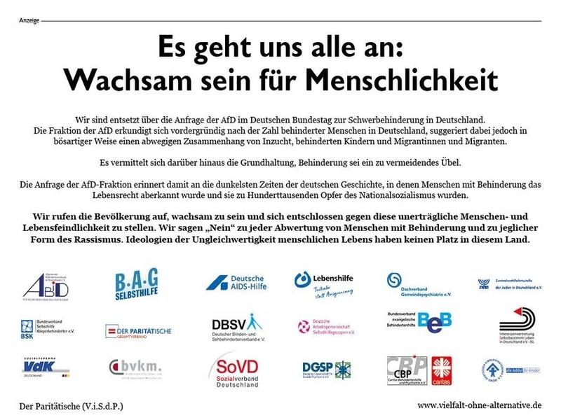 Die Groß-Anzeige in der Frankfurter Allgemeine am Sonntag vom 22.4.2018